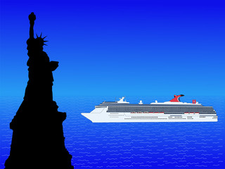 Cruise ship and State of Liberty