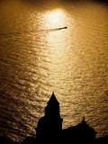Praiano tramonto sul mare chiesa di San Gennaro poster