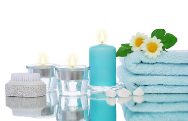 blue candles and spa objects