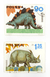 Dinosaurs on Polish stamps poster