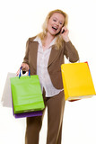Excited shopper on the phone poster