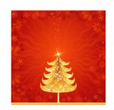 shining golden christmas tree, vector illustration poster