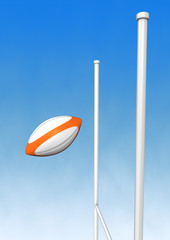 Rugby ball kick beetween goalposts