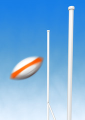 Rugby ball drop with blur mouvement effect