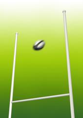 Rugby ball kick beetween goalposts