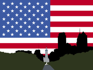 city hall Philadelphia with flag