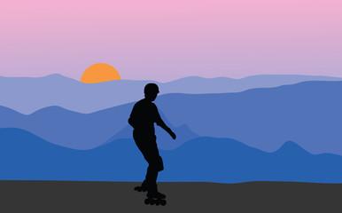 Roller skater in sunset