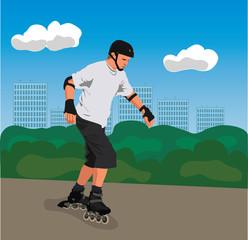 Roller skater in a park