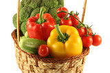 The basket with various costs to vegetables poster