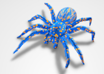 Tarentula 3D blue spider on white ground