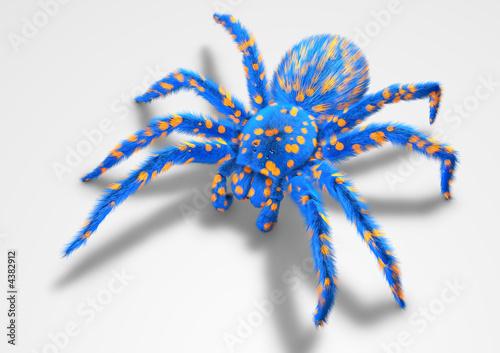 Tarentula 3D blue spider on white ground