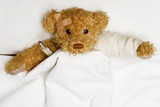 Teddy bear as a patient in hospital poster