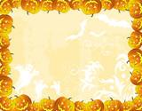 Halloween background with bats, ghost & pumpkin, vector poster