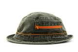 Summer denim hat with orange zipper poster