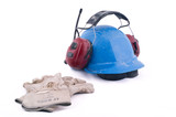 Working gloves, working helmet and hearing protector, isolated. poster