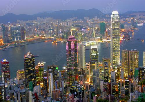 Plexiglas Hong-Kong Blick auf Hong Kong am abend