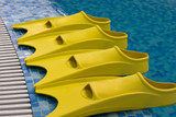 Four yellow fins expecting swimmers poster