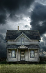 Old Farmhouse Stormy Sky
