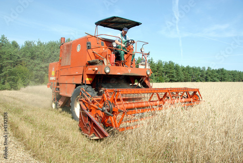 Poster red combine harvester