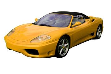 yellow convertible supercar