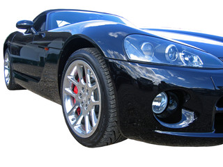 side of reflective black convertible