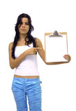 Girl pointing towards a blank paper - isolated  poster