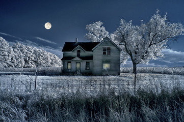 Haunted Farmhouse and Full Moon