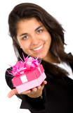 business girl offering a gift poster