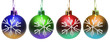 Colourful christmas balls isolated on the white