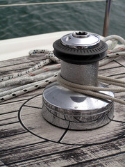Rigging and rope established on a sports sailing yacht