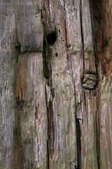 Knarled wooden gate post