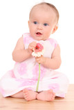 6 months baby girl with flower poster