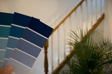 Choosing a paint colour - swatches and home background poster