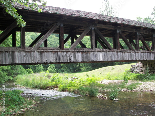 Amish handmade wooden bridge over a creek.