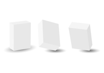 3D blank boxes in different perspectives over white background