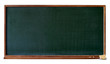 Blank green blackboard with wooden frame, chalktray and eraser