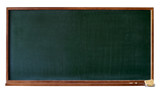 Blank green blackboard with wooden frame, chalktray and eraser poster