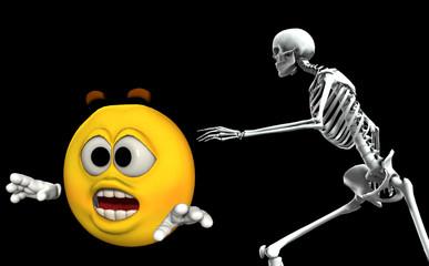 Scared Cartoon With Bones 2
