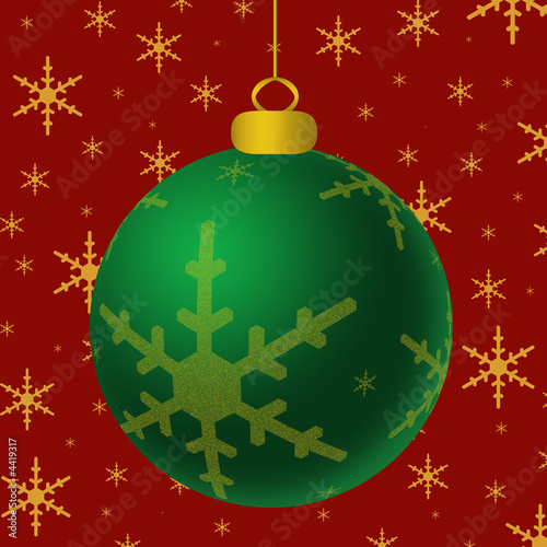 Green Ornament Gold Accents