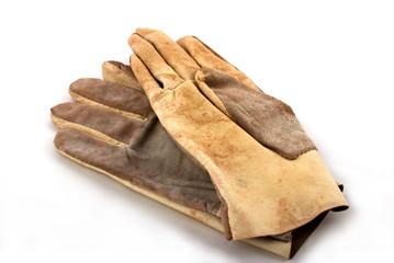 brown leathen working gloves