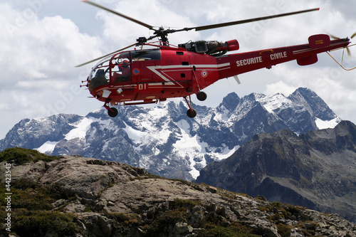 Poster Helicopter alouette en mission de secours