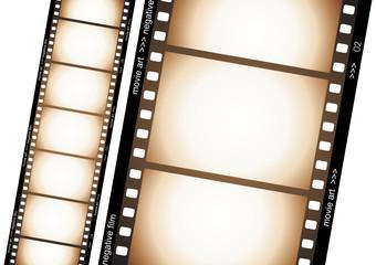 Old negative film strip illustration over white background