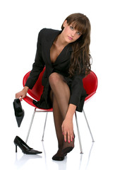 Young businesswoman have pain in her feet