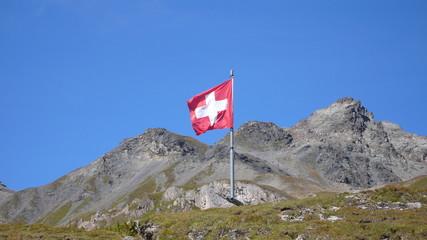 schweizer flagge mit bergen