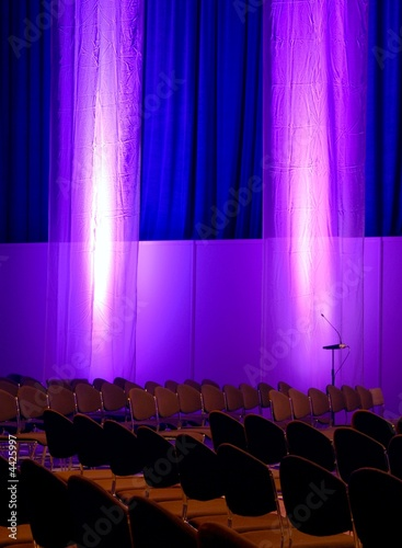 conference room in purple and blue colors