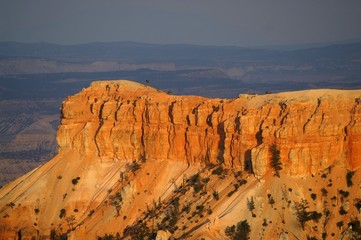 Sunset in Bryce Canyon; dark clouds in background