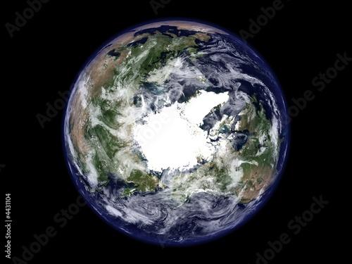 terre vue du ciel pole nord