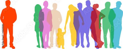 Gruppe von Menschen mit Außenseiter