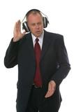 Businessman in earphones poster
