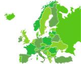 Carte Europe Camaieu Vert poster